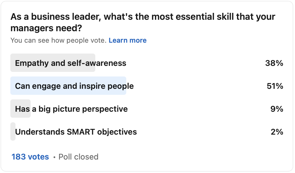 I've been running polls about leadership, and these are the results